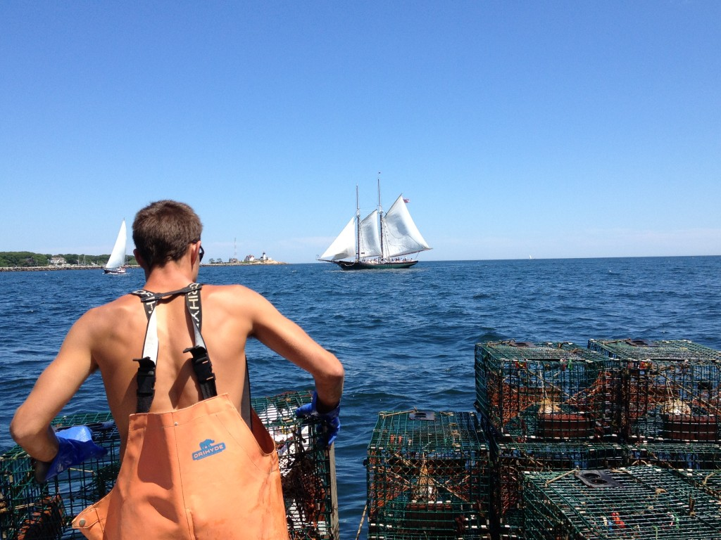 Stacking a trawl of lobster traps