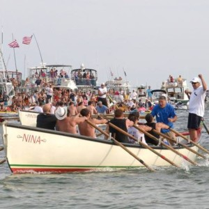 Winning the Seine boat races on Fiesta Sunday.